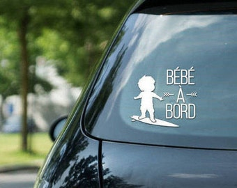 Sticker Bébé à bord surfing, surfing boy, vinyl on decal paper, car decal, kid surfing