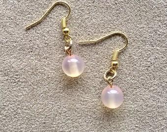 delicate pink dangle earrings