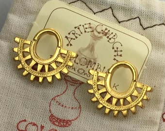 Crescent Sun PreColumbian Earrings- Colombia- 24K Gold Plated