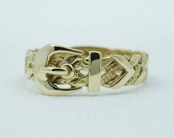Vintage Belt Buckle Ring 9k Gold