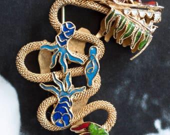 Vintage Chinese Export Vermeil & Enamel Filigree Chinese Dragon Pin