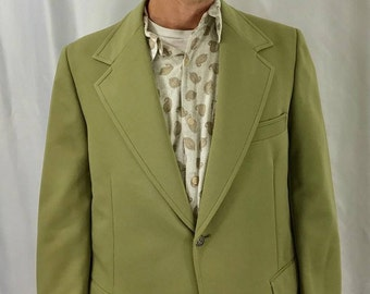 1970s CLUBMAN Men's Olive Green Disco Leisure Polyester Blazer Jacket USA 42L
