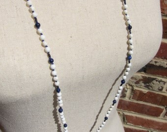Howlite-Lapis-Wood Wrap Necklace - Genuine Gemstones & Pure Silk Thread