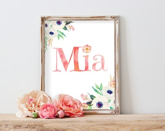 Mia Baby Name Wall Art, Name Signs For Nursery, Baby Name Art Nursery Name