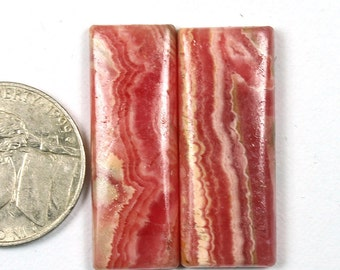 1 Pair Natural Pink Rhodochrosite Stone,31x11mm 49Cts Rhodochrosite Cabochon Gemstone,Handmade Gemstone,Jewelry Making ,Loose Gemstone#348