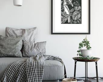 Cassowary~ Linoprint ~ Original Art~ Handprinted~ black and white ~Australian ~birds ~unique gift ~ printmaking~ homeware ~ spirit messenger