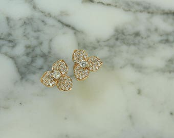 18K Gold Simulated Diamonds Orchid Stud Earrings