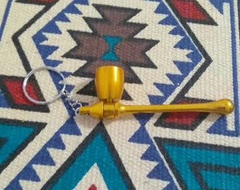 Gold/Sunburst Orange Keychain Mushroom Pipe
