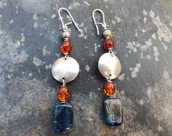 Bohemian Long Earrings with Amber and Kyanite Stones, Silver-plated Brass and Sterling Silver Hooks,
