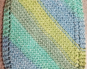 Handmade Knitted Dishcloth - Country Stripes