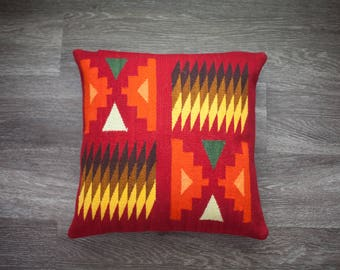 Hand woven pillow cover merino sheep wool, 16x16, modern desert style,peruvian textile, boho geometric design, natural dyes.