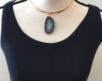 Black Agate Slice Natural Geode Gold Collar Choker
