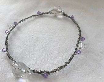 Silver Wire Wrapped Stackable Dainty Bracelet with Clear and Lilac Crystals