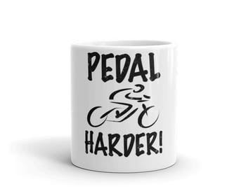 Pedal Harder Spartees Distressed white Mug