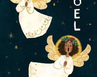 "Christmas Card, ""NOEL,"" ""Hark the Harald Angels Sing,"" 5 by 7 inches,"