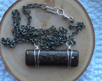 Stone/Galaxy Resin Pendant on Bronze Chain