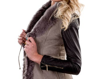 Handmade Sleeveless vest gray Jacket made with Sheepskin Leather Fur shearling coat Women fur vest Sleeveless winter jacket Hoodie gift