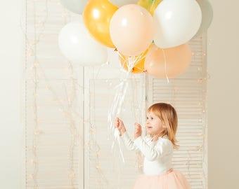 Peach and Gray Balloon Bouquet - First Birthday Balloon Bouquet