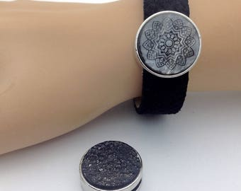 Women's leather bracelet in reptile embossing, different colors, 2 sliders A Mandala & A glitter Stone