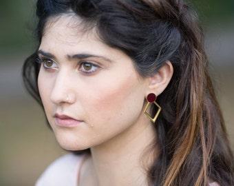 Geometric Stud Earrings, Rhombus Earrings, Bohemian Gold Earrings, Diamond Shaped Earrings, Gold Plated Earrings, Bridesmaid Jewelry