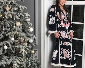 Boho dress linen abaya embroidered ukrainian dresses with ethnic ukrainian embroidery long maxi tunic vyshyvanka woman bohemian clothing