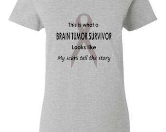Ladies Brain Tumor Survivor T-Shirt, Brain Tumour Tee, Brain Tumor Awareness