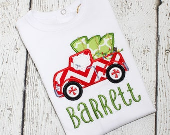 Christmas Tree Truck Shirt for Boys - Christmas Pictures Outfits Boy - Personalized Christmas Shirt Boys - Applique Christmas Shirts for Boy