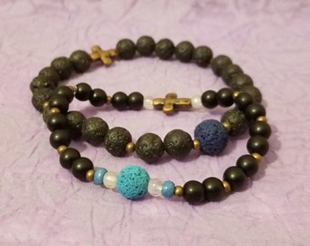 His and Hers Blue ~ Lava Rock Essential Oil Diffuser with Cross ~ One-of-a-Kind Couple's Bracelet Set