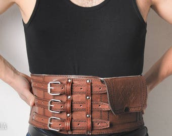 Wide leather belt, waist leather belt, viking belt, leather men's corset, brown corset belt, athletic belt, viking corset, gift for man