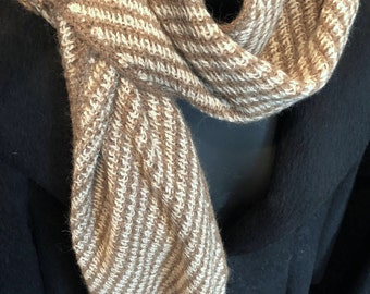 Paco-Vicuna Suri Hand-Knitted Scarf, Incredibly Soft and Luxurious
