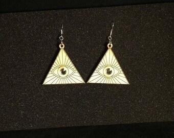 Illuminati/all seeing eye dangle earrings