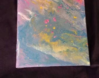 "Original Painting with Epoxy Finish- ""Drifting into a Dream""- acrylic painting with glitter and epoxy finish 8x10"