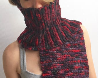 DALLAS Thick Knit Red, Black and Purple Short-Wrap Scarf