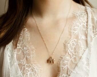 Ellie Necklace- 14k gold filled elephant necklace