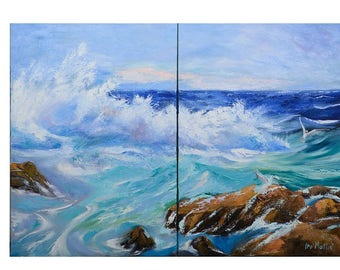 the wave,original painting, oil on canvas, seascape,blue,white,art wall,abstract,oil,canvas,sky 28x40,