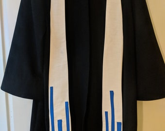 Baptism Clergy Stole: White with blue design