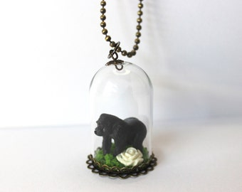 Miniature Harambe Glass Dome Cloche Terrarium Zoo Gorilla Diorama Necklace