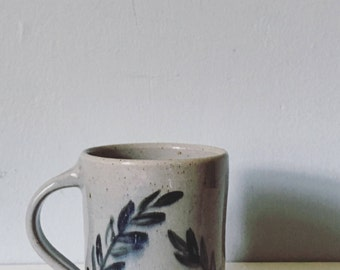 Pottery mug ceramic tea cup coffee mug - ceramic mug pottery stoneware mug cup teacup - gray blue serene nature leaves design