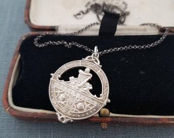 Vintage Irish sterling silver watch fob pendant, Award Fob - F90 Irish Hallmarks 1941