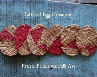 6 Primitive Egg Ornaments, Tattered Eggs, Rustic Farmhouse, Antique Quilt Eggs, Americana Easter Decor, Red & White - READY TO SHIP