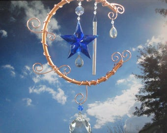 Copper Moon Wind Chime, Sculpture, Wall Hanging, Home Decor, Recycled Glass Crystal, Garden Art, New Age, Metaphysical, Window Hanging, Star