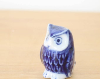 Vintage Miniature Porcelain Delft Owl Figurine, Ceramic owl collectible figurine, Tiny Menagerie Woodland Animal, Vintage Owl, Delft Owl