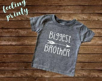 Biggest Brother Shirt Big Boys Shirt New Brother shirt Grey Big Brother Shirt