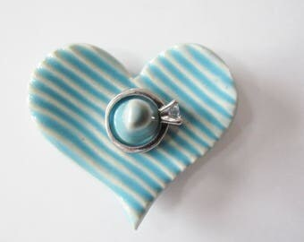Heart Shaped Ring Holder, Ring Dish, Ring Bowl, Light Blue - Ready to ship