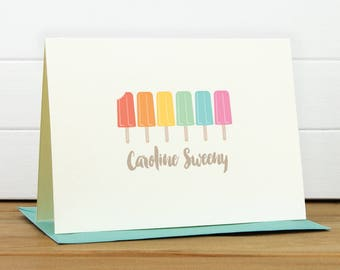 Personalized Stationery Set / Personalized Stationary Set - ICE POP Custom Personalized Note Card Set - Summer Fun Popsicle