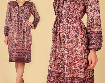 Indian Gauze Cotton Dress ViNtAgE 70's Bohemian India Festival Dress Hippie BoHo Gypsy Purple Rainbow Metallic M L