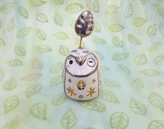 Ceramic Fairy Owl Figurine White Gold and Silver