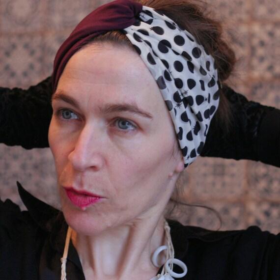 Headband-Turban hair Retro Ecru dots black viscose and plum Jersey. Headband with polka dots