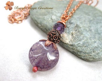 Purple Gemstone Pendant, Copper Chain Necklace, Agate Stone, Amethyst Color Gemstone, February Birthstone, Feb Birthday Gift for Woman N298P