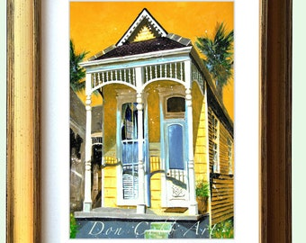 """New Orleans Gold Framed Shotgun House Art """"NOLA House"""" Matted Print Signed and Numbered"""